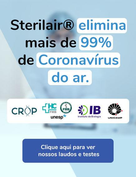 Laudos e testes do Sterilair contra o coronavírus no ar